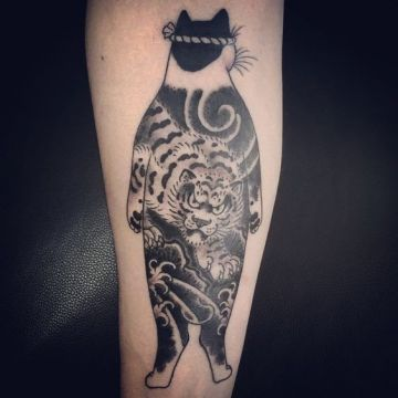 Ink Cool Black Cat Arm Tattoo Design