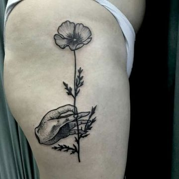 Ink Flower Hand, Thigh Tattoo Design