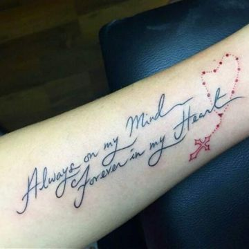 Ink Lettering Red & Black Memorial Cross Chain Forearm Tattoo Design