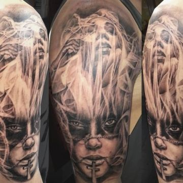 Ink Portrait Black Ghost Sleeve Tattoo Design For Women (female)