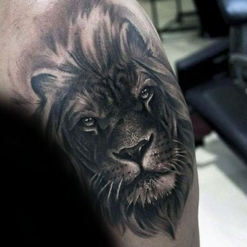 Ink Realistic Black Lion Shoulder, Head Tattoo Design