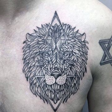 Ink Simple Black Lion Chest, Head Tattoo Design