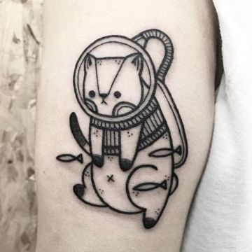 Ink Small Black Cat Tattoo Design