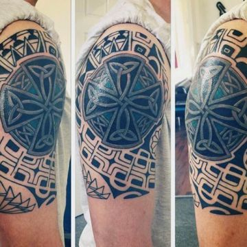 Ink Tribal Black Cross Sleeve Tattoo Design