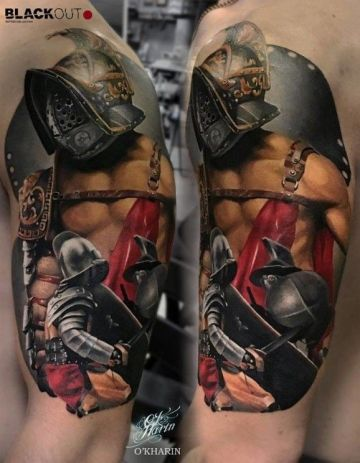 Medieval Gladiator Warrior Tattoo Design