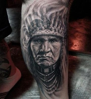 Native American White Head Tattoo Design