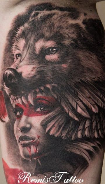 Native American Wolf Mask Tattoo Design For Women (female)