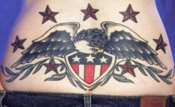 Patriotic Eagle Back Tattoo Design