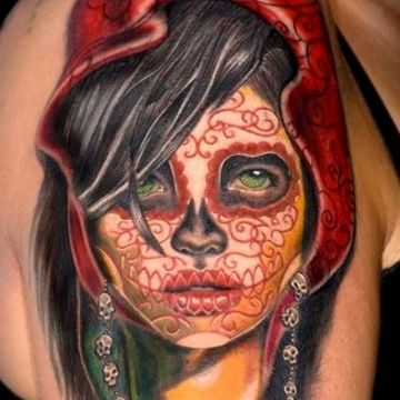 Pattern Red Muerte Face, Shoulder Tattoo Design For Women (female)