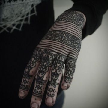 Pattern White Hand Tattoo Design