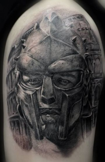 Portrait Gladiator Shoulder Tattoo Design