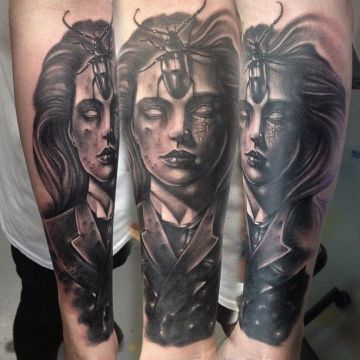 Portrait Ink Black Bug Forearm Tattoo Design For Women (female)