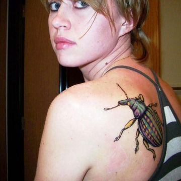 Realistic Bug Shoulder Tattoo Design
