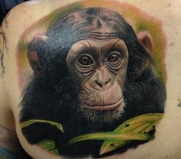Realistic Colorful Chimpanzee Head Tattoo Design