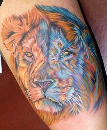 Realistic Lion Head Tattoo Design