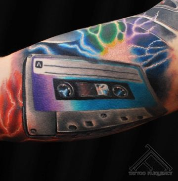 Realistic Music Arm Tattoo Design