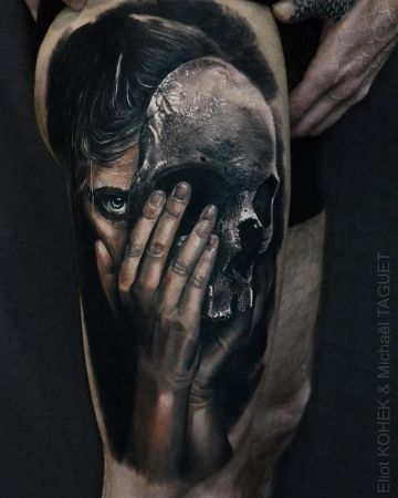 Realistic Skull Mask Tattoo Design For Women (female)