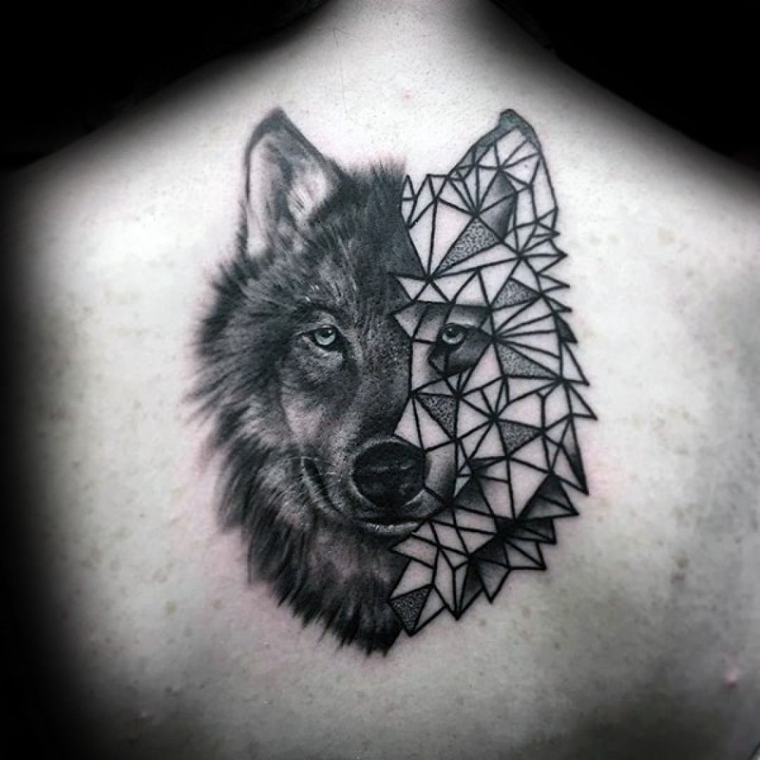 Realistic Wolf Back, Head Tattoo Design (282975) - Realistic Tattoos