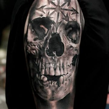 Realistic 3d Sacred Skull Shoulder Tattoo Design