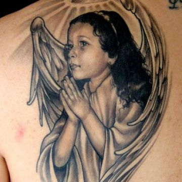 Realistic Cherub Shoulder Tattoo Design For Women (female)