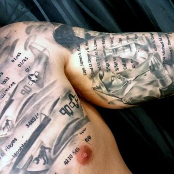 Realistic Lettering Chest Tattoo Design