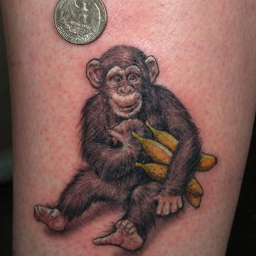 Realistic Chimpanzee Tattoo Design