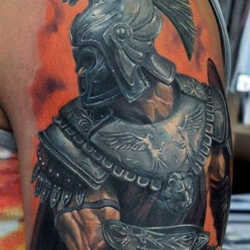 Realistic Gladiator Warrior Shoulder Tattoo Design For Women (female)