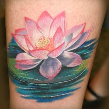 Realistic Lotus Flower Water Tattoo Design