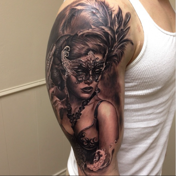 Realistic Mask Shoulder Tattoo Design For Women (female)
