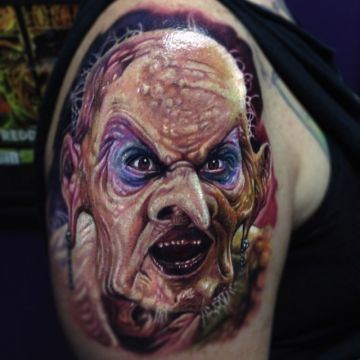 Realistic Monster Shoulder Tattoo Design