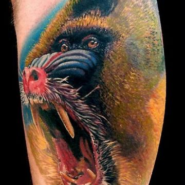 Realistic Portrait Baboon Arm Tattoo Design