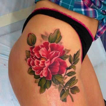 Realistic Red Peony Flower Thigh Tattoo Design