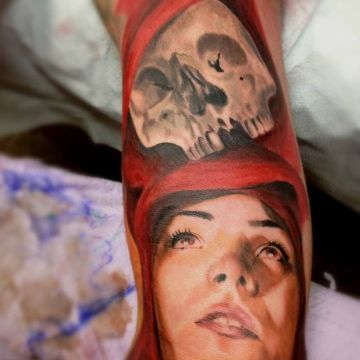 Realistic Red Skull Arm Tattoo Design For Women (female)
