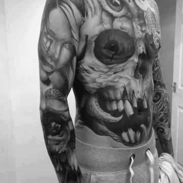 Realistic Skull Tattoo Design