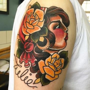 Traditional Lettering Shoulder Tattoo Design For Women (female)