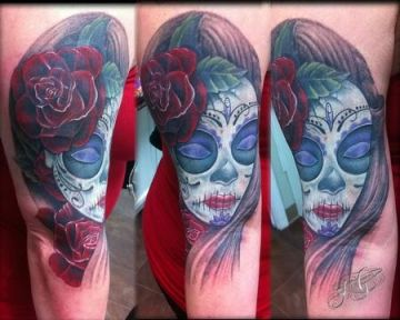 Traditional Portrait Colorful Sleeve Tattoo Design For Women (female)