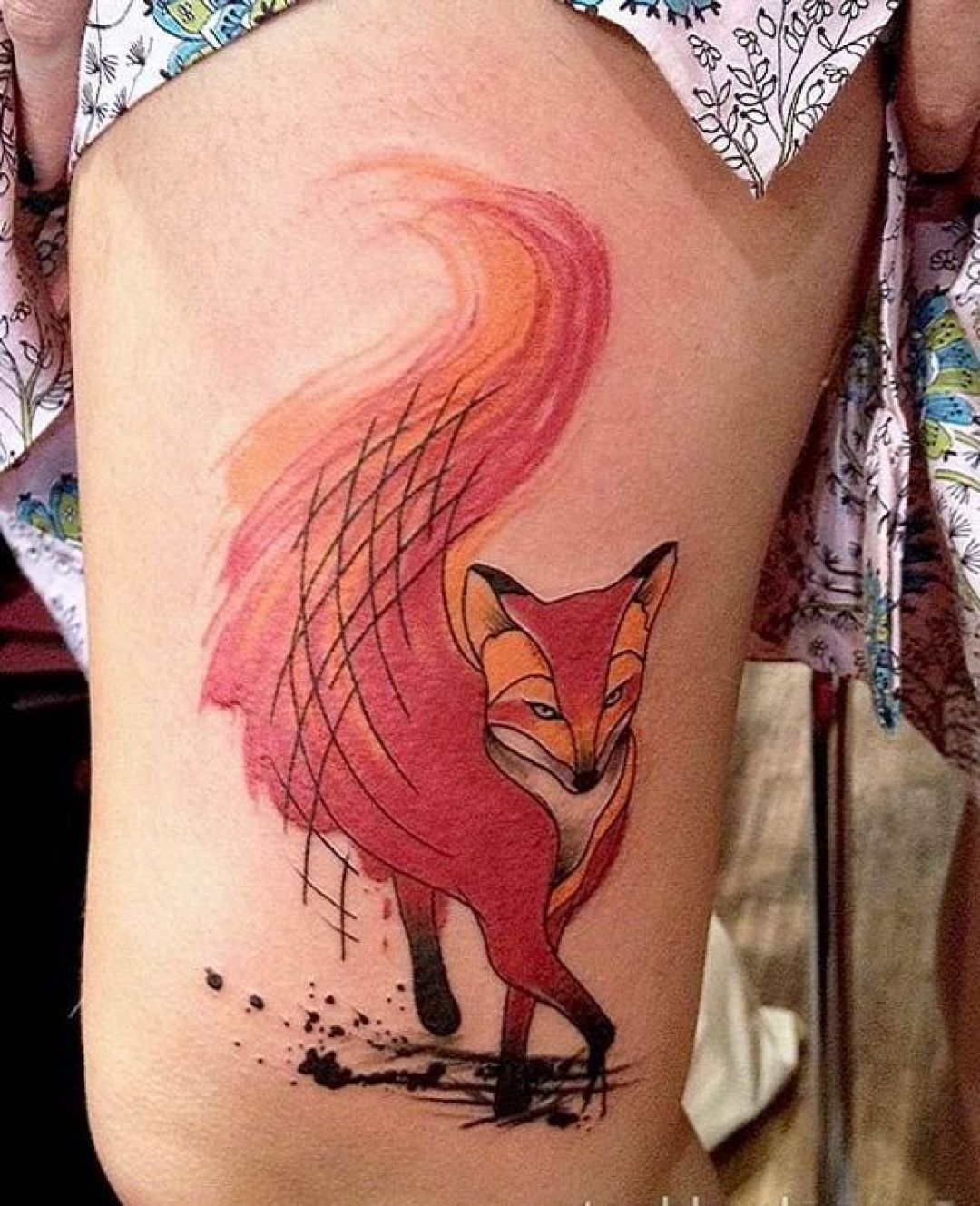 Watercolor Red Fox Thigh Tattoo Design