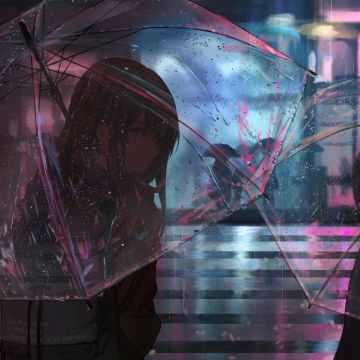Anime Girl In Rain With Umbrella - Android / iPhone HD Wallpaper Background Download