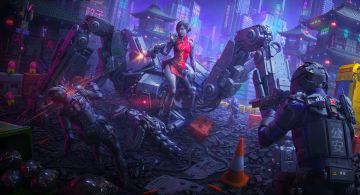 Cyborg Girl Killing Attacker  - Android / iPhone HD Wallpaper Background Download