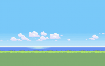Water Digital Art Pixel Art Sky Grass Pixels Clouds Video Games - Android / iPhone HD Wallpaper Background Download