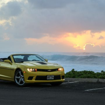 Sunset Chevrolet Camaro Bumblebee Sky Beach Chevrolet Sea Yellow Hawaii Chevrolet Camaro Ss - Android / iPhone HD Wallpaper Background Download