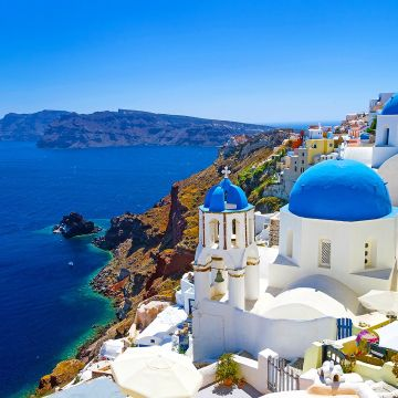 Santorini Greece Cityscape Town Mediterranean - Android / iPhone HD Wallpaper Background Download