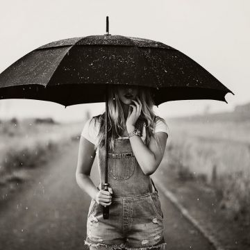 Monochrome Model Women Outdoors Umbrella Rain Women - Android / iPhone HD Wallpaper Background Download