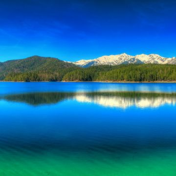 Forest Snowy Peak Green Reflection Sky Water Landscape Germany Nature Mountains Panoramas Blue Lake - Android / iPhone HD Wallpaper Background Download