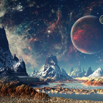 Mountains Stars Space Planets Digital Art Artwork 4k, HD Artist, 4k - Android / iPhone HD Wallpaper Background Download